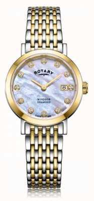 Rotary Montre-bracelet bicolore pour femme avec date de diamant windsor LB05301/41/D