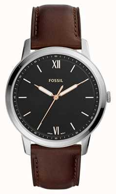 Fossil Mens la montre minimaliste cadran noir bracelet en cuir marron FS5464