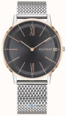 Tommy Hilfiger Mens cooper montre en acier inoxydable bracelet en maille bracelet noir 1791512