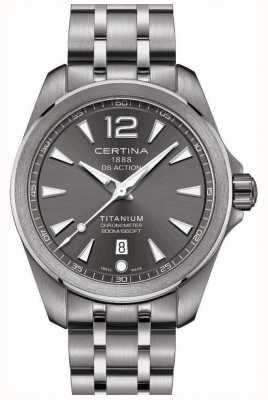 Certina Mens ds action watch gris cadran en acier inoxydable bracelet C0328514408700