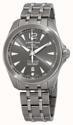 Certina Mens ds action regarder bracelet en titane cadran gris C0328514408700