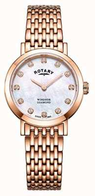 Rotary Montre-bracelet pour femme windsor avec diamants en or rose LB05304/41/D