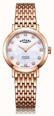 Rotary Montre-bracelet pour femme windsor avec diamants en or rose LB05304/41/D