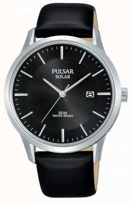 Pulsar Boîtier en acier inoxydable noir cadran solaire bracelet en cuir noir PX3163X1