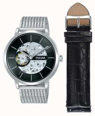 Pulsar Ensemble de montres homme à cadran noir automatique en acier inoxydable P8A001X2