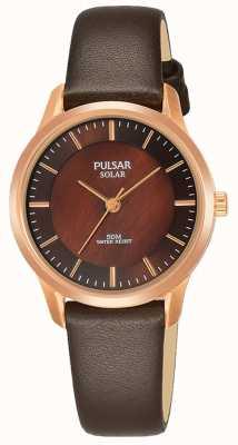 Pulsar Boîtier pour femme en plaqué or rose Bracelet en cuir marron Cadran marron PY5044X1