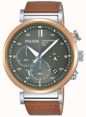 Pulsar Cadran chronographe gris pour homme, plaqué or rose PZ5070X1