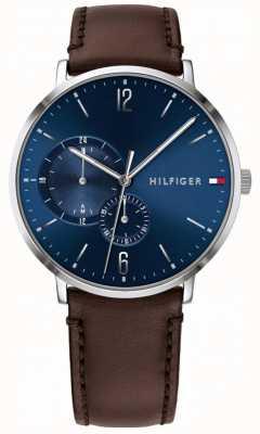Tommy Hilfiger Bracelet bleu en cuir marron pour homme 1791508