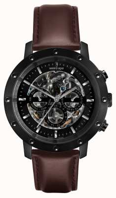 Weird Ape Icarus 3 cadran tout bracelet en cuir noir / marron WA02-005702