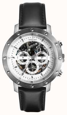 Weird Ape Icarus 3 cadran argenté blanc / bracelet en cuir noir WA02-005740