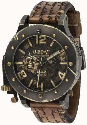 U-Boat Bracelet en cuir marron automatique au look vintage U-42 unicum 8188