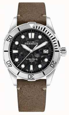 Michel Herbelin Montre homme newport avec cadran noir bracelet cuir marron 1660/22TER