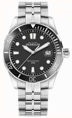 Michel Herbelin Cadran argenté pour homme, bracelet argenté, cadran noir 1660/N14B