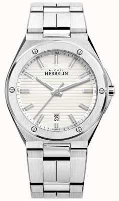 Michel Herbelin Montre homme en acier inoxydable bracelet blanc 12245/B12