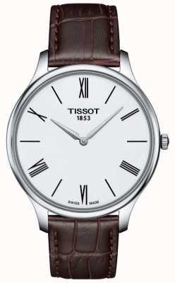 Tissot Montre homme fine en cuir marron T0634091601800
