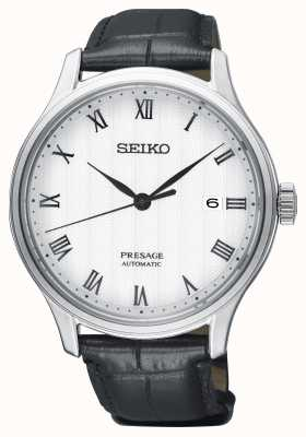 Seiko Presage Mens automatique cadran blanc bracelet en cuir noir SRPC83J1