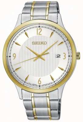 Seiko Montre bicolore à cadran blanc pour homme, motif classique SGEH82P1