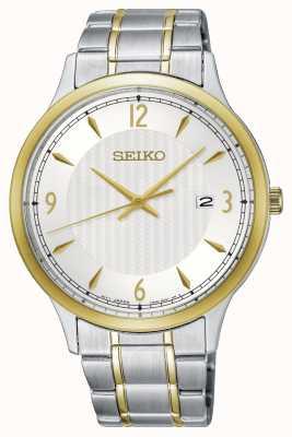 Seiko Montre bicolore à cadran blanc à motif classique pour homme SGEH82P1