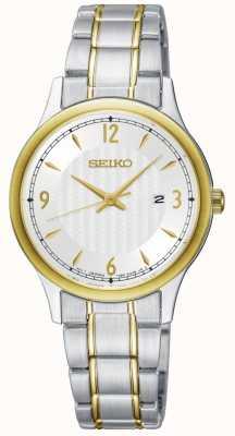 Seiko Montre bicolore à cadran blanc pour femme, modèle classique SXDG94P1
