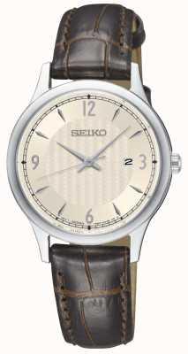 Seiko Montre classique à bracelet en cuir marron clair SXDG95P1
