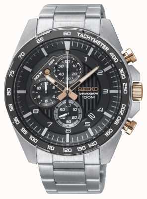 Seiko Montre homme chronographe en acier noir chronographe SSB323P1