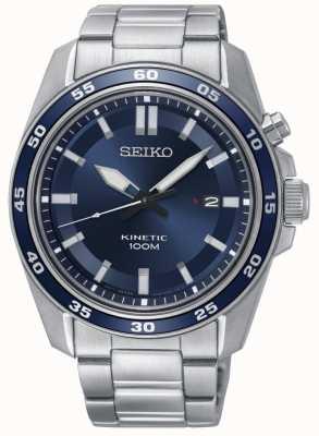 Seiko Montre cinétique en acier inoxydable pour homme, cadran bleu SKA783P1