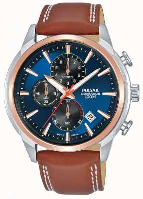 Pulsar Montre chronographe deux tons pour homme plaquée or rose PM3120X1
