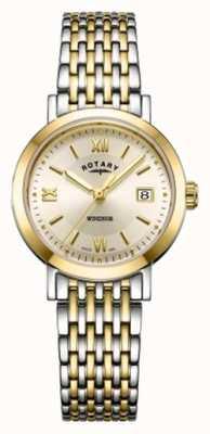 Rotary Montre à bracelet bicolore en or et argent pour femme windsor LB05301/09