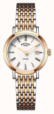 Rotary Montre à bracelet bicolore en or rose et argent pour femme windsor LB05302/01