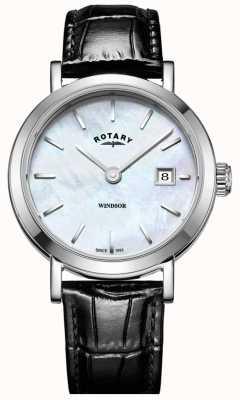 Rotary Bracelet en cuir noir avec cadran en nacre windsor pour femme LS05300/41