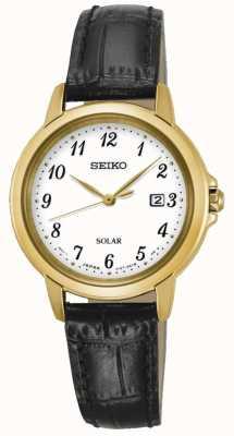 Seiko Womens bracelet solaire blanc bracelet en cuir noir SUT376P9