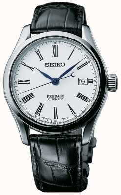 Seiko Cadran blanc automatique Presage hommes bracelet en cuir noir SPB047J1