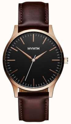 MVMT Série 40 rose brun doré | bracelet marron | cadran noir D-MT01-BLBR