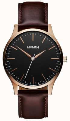 MVMT Série 40 or rose brun | bracelet marron | cadran noir D-MT01-BLBR
