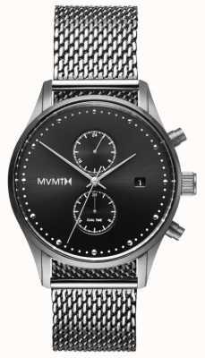 MVMT Voyager sterling | maille d'acier inoxydable | cadran noir D-MV01-S2