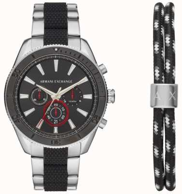 Armani Exchange Mens enzo sport chronographe montre ad bracelet cadeau ensemble AX7106