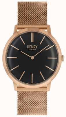 Henry London Cadran noir iconique bracelet en maille or rose HL40-M-0254