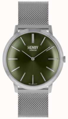 Henry London Bracelet emblématique en maille d'argent avec cadran vert HL40-M-0253