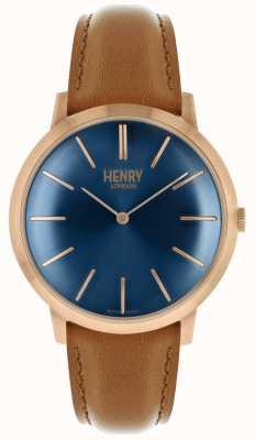Henry London Cadran iconique bleu marine bracelet en cuir marron rose HL40-S-0244