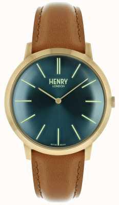 Henry London Cadran iconique bleu marine avec bracelet en cuir doré HL40-S-0274
