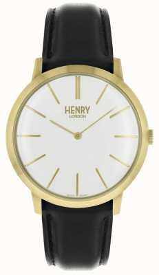Henry London Cadran blanc iconique bracelet en cuir noir doré HL40-S-0238