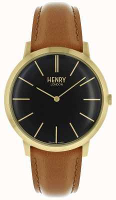 Henry London Iconic noir cadran brun bracelet en cuir doré HL40-S-0242
