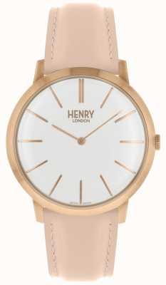 Henry London Cadran blanc emblématique bracelet en cuir rose rose HL40-S-0288