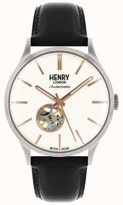 Henry London Montre à cadran blanc avec bracelet en cuir noir automatique Heritage HL42-AS-0279