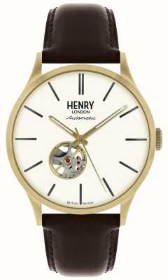 Henry London Montre Heritage pour homme avec cadran blanc, bracelet en cuir noir automatique HL42-AS-0280