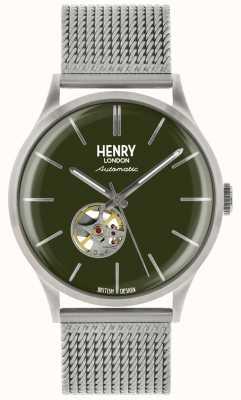 Henry London Montre à cadran vert maille en acier argenté automatique pour homme HL42-AM-0283