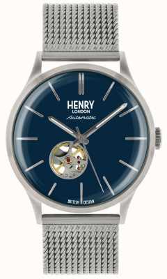 Henry London Montre à cadran bleu en maille d'acier argent automatique pour homme HL42-AM-0285