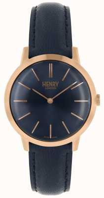 Henry London Montre femme emblématique Cadran marine Bracelet cuir marron HL34-S-0216