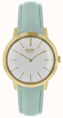 Henry London Montre femme emblématique cadran blanc bracelet en cuir bleu HL34-S-0224