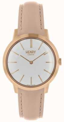 Henry London Montre femme emblématique bracelet en cuir nude cadran blanc HL34-S-0222